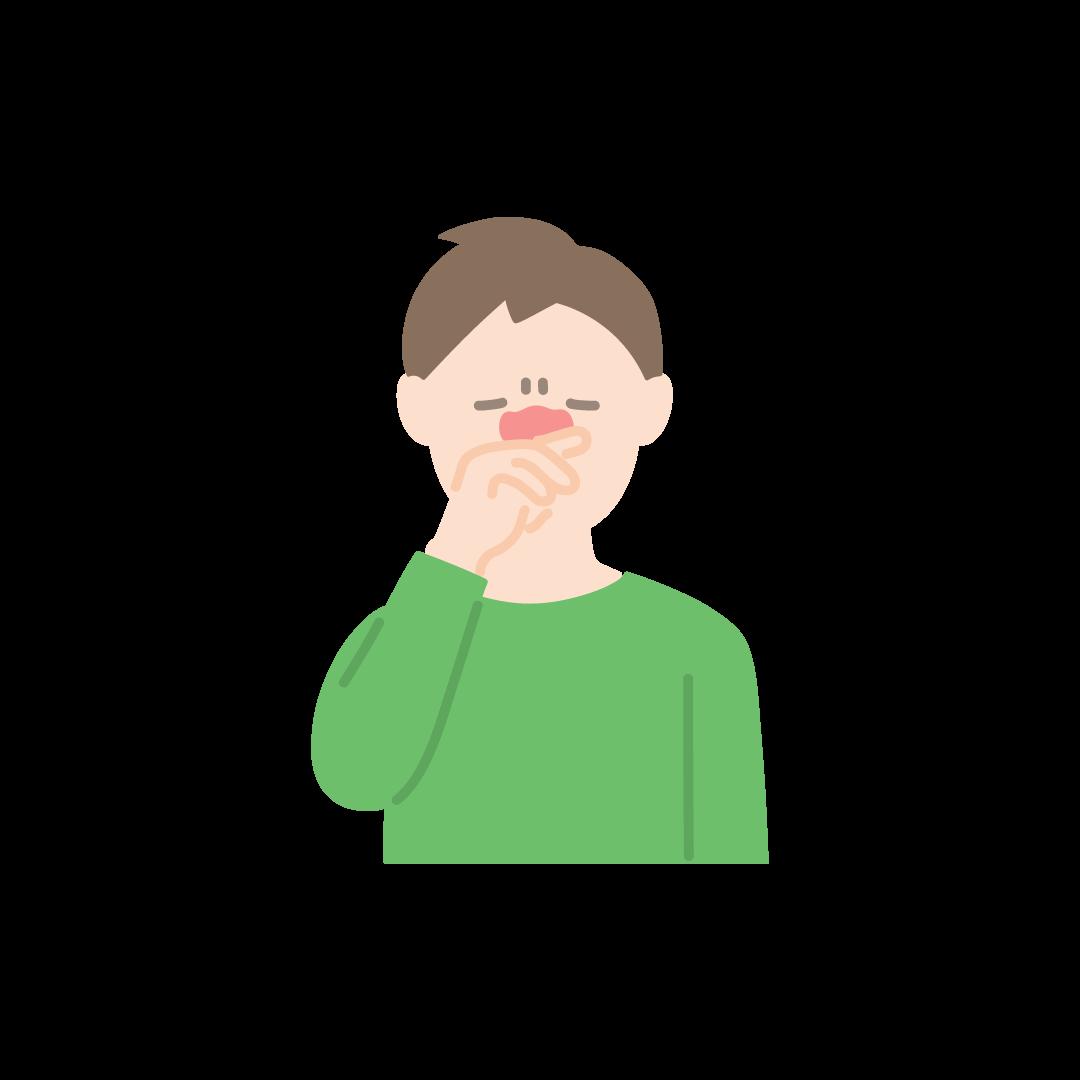 鼻をこする男性の塗りイラスト