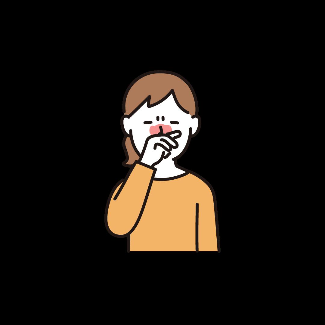 鼻をこする女性のイラスト