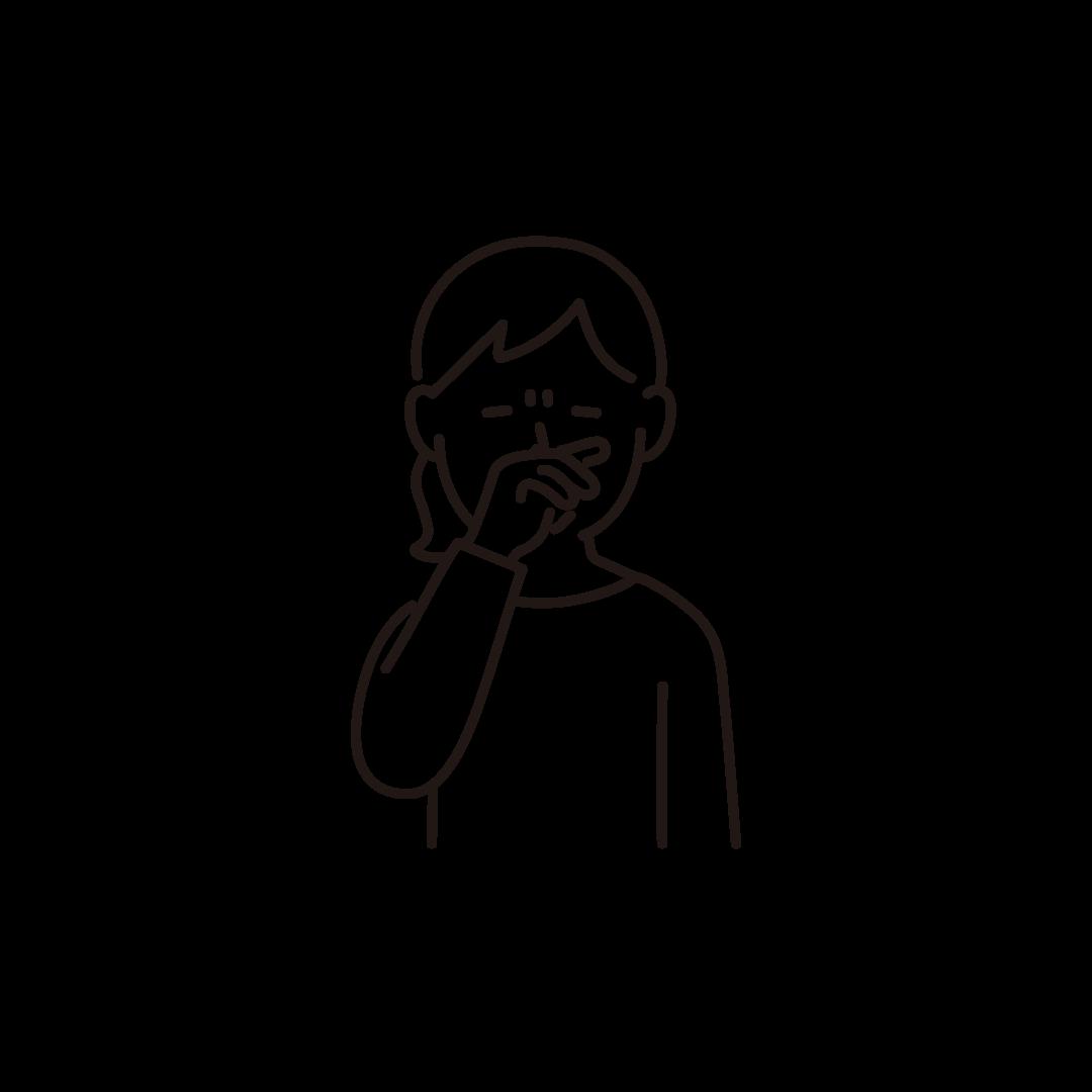 鼻をこする女性の線画イラスト
