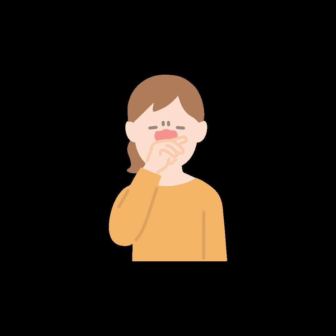 鼻をこする女性の塗りイラスト