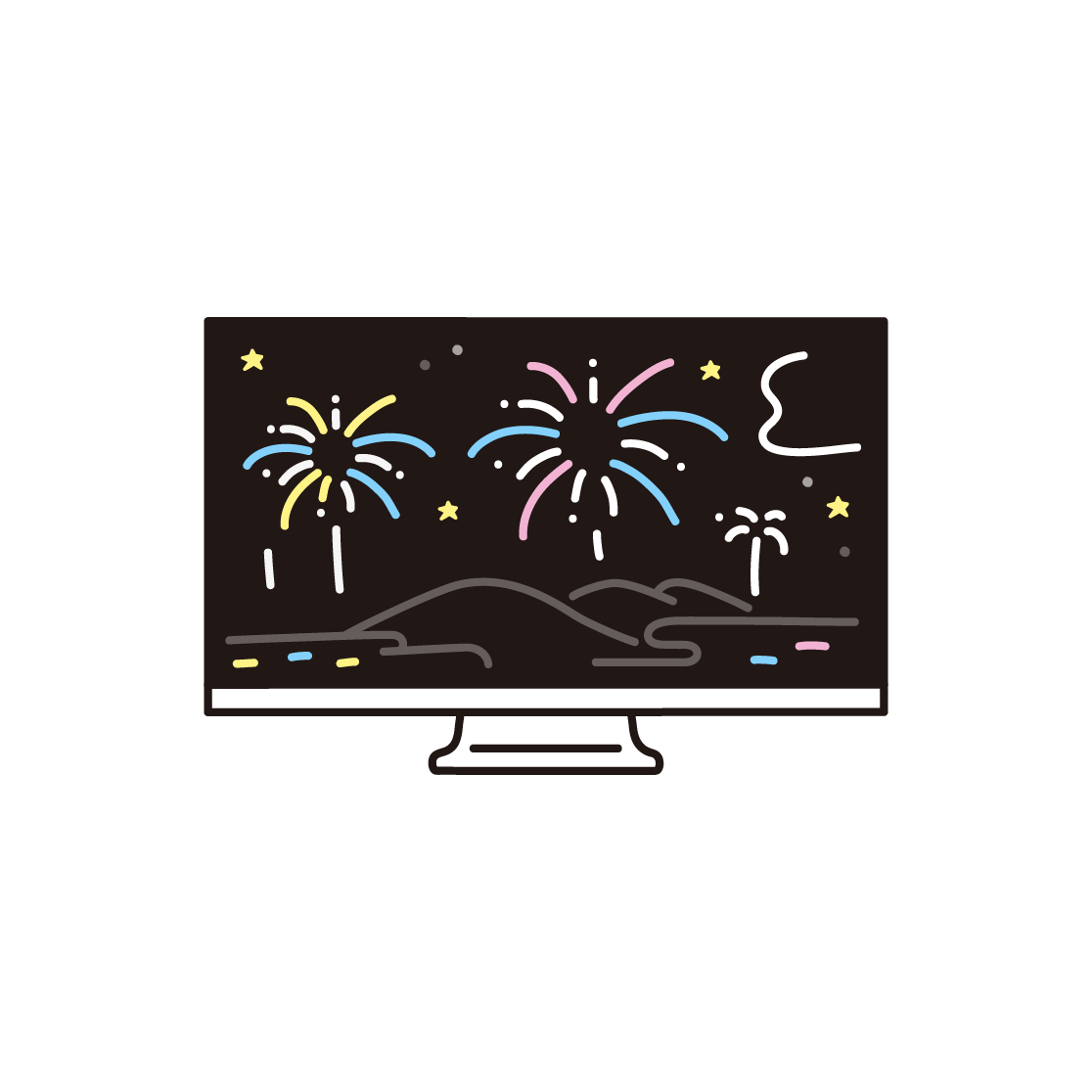 オンライン花火(テレビ)のイラスト