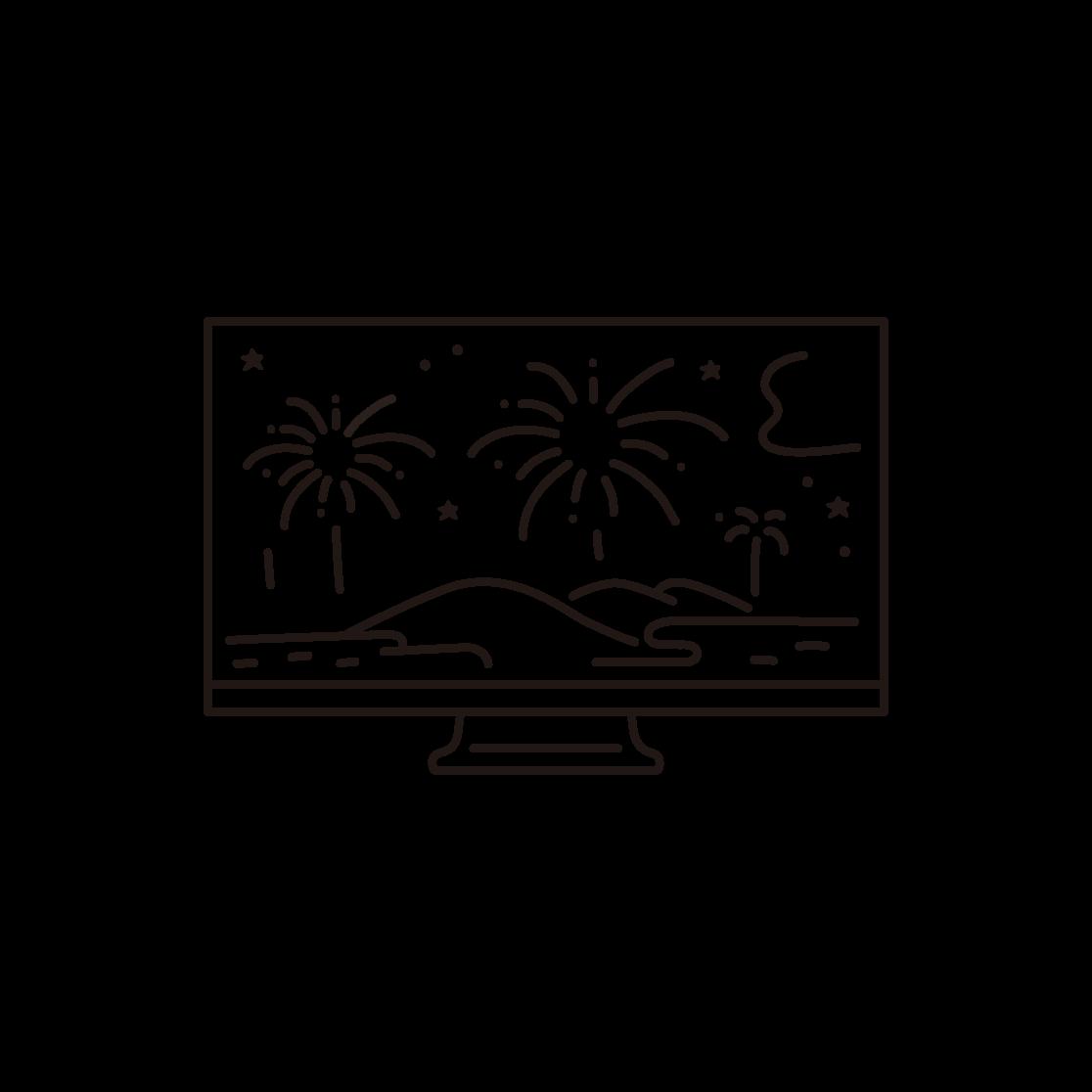 オンライン花火(テレビ)の線画イラスト
