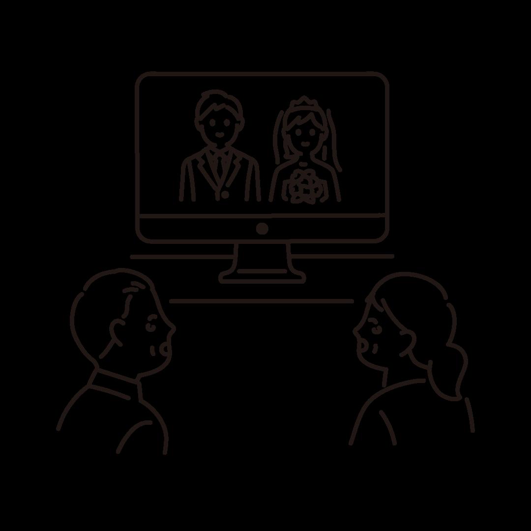 オンライン結婚式の線画イラスト
