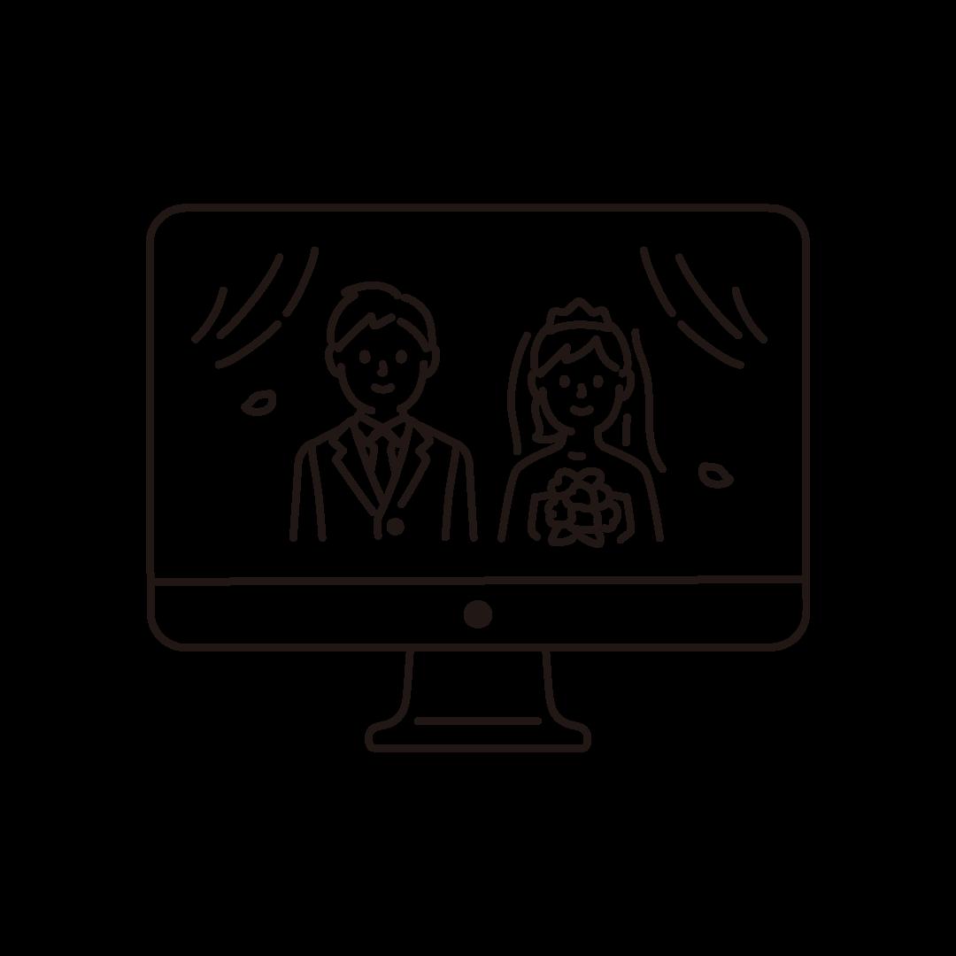 オンライン結婚式(パソコン)の線画イラスト
