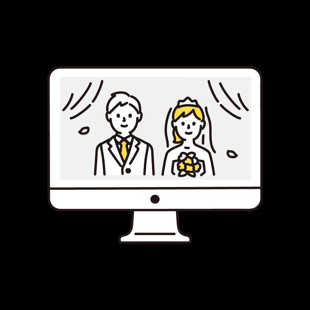 オンライン結婚式(パソコン)の単色イラスト