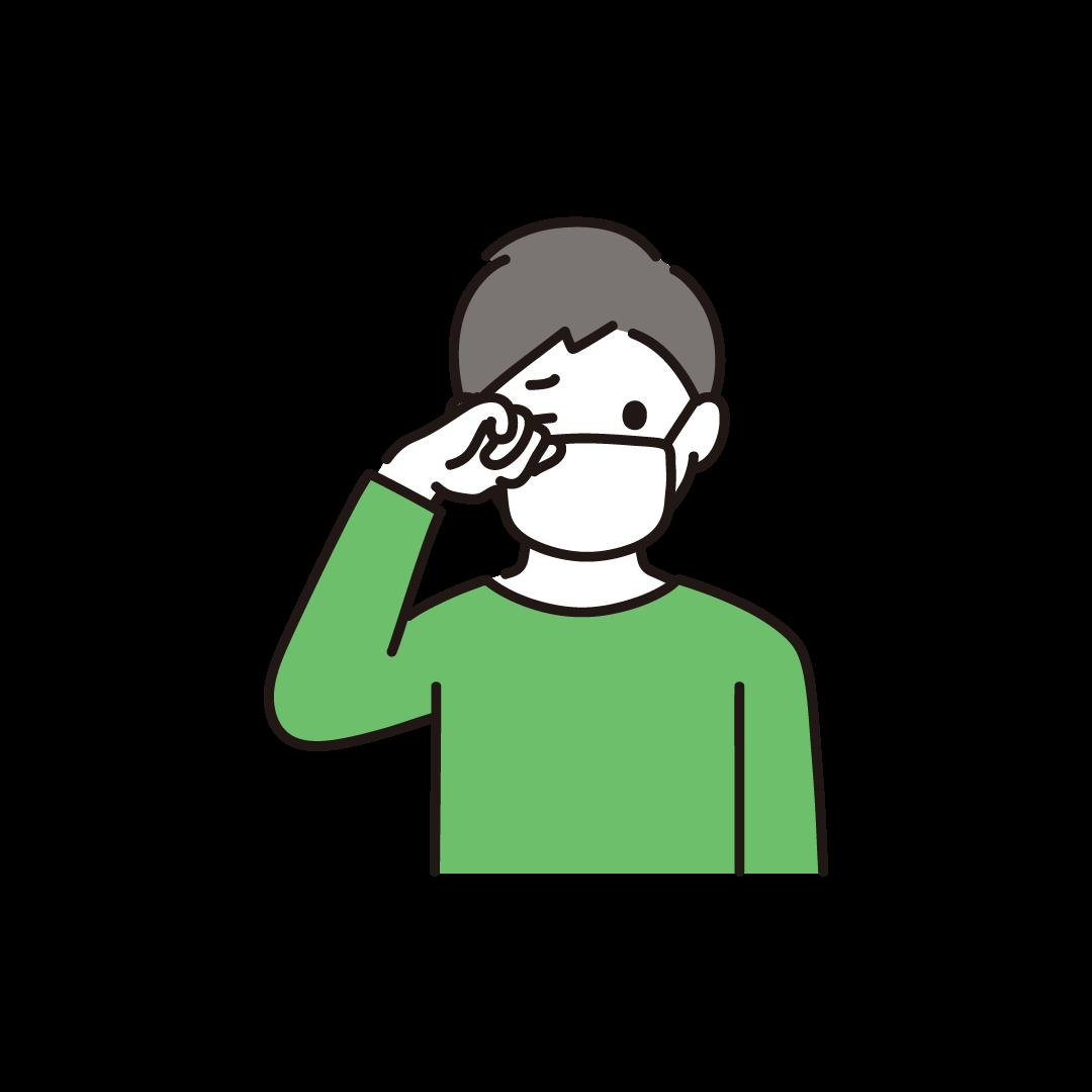 目をこする男性のイラスト
