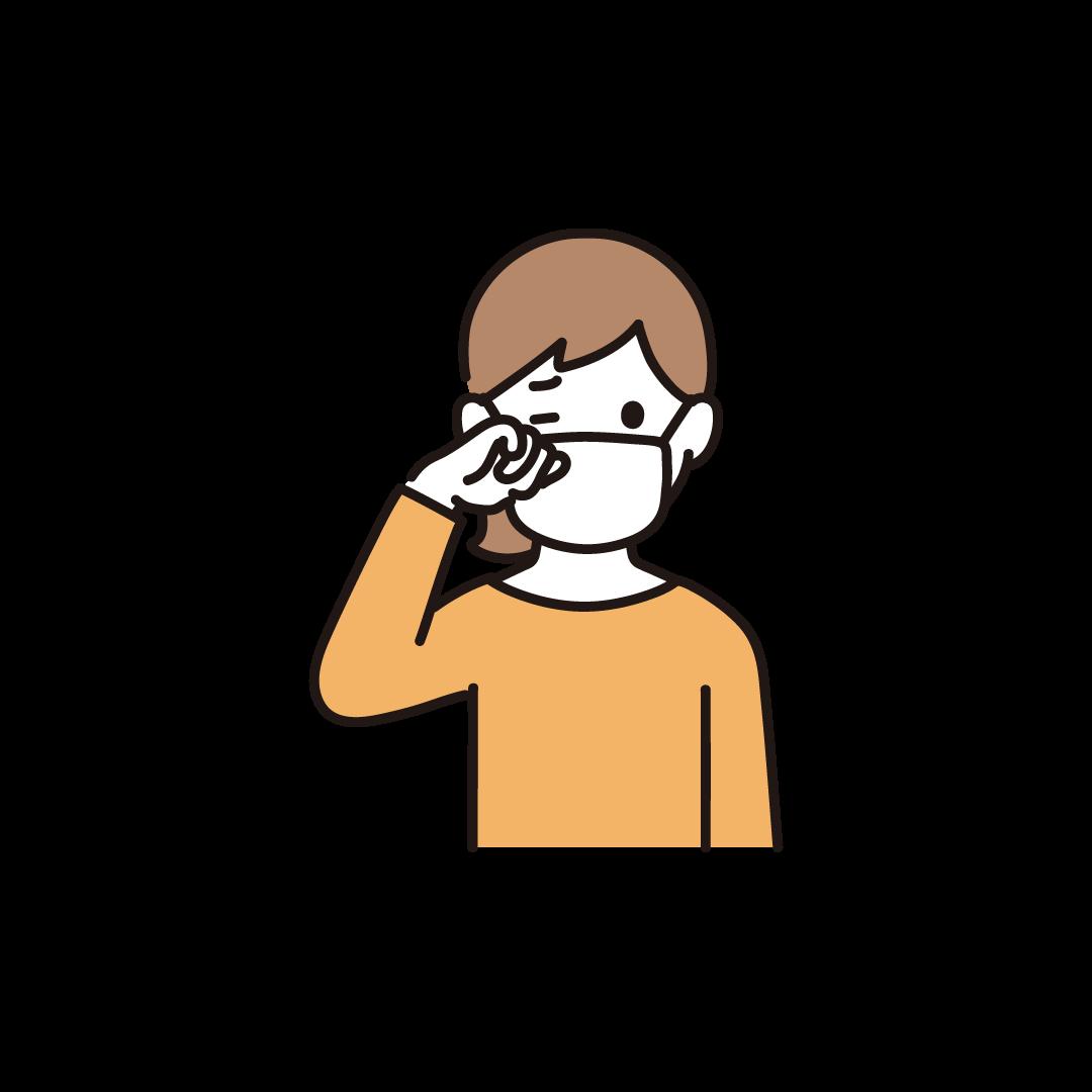 目をこする女性のイラスト