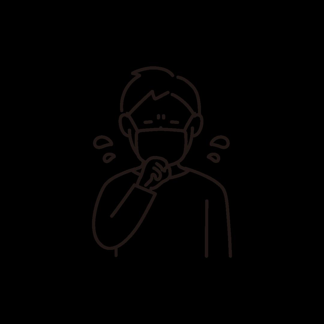 咳をする男性の線画イラスト