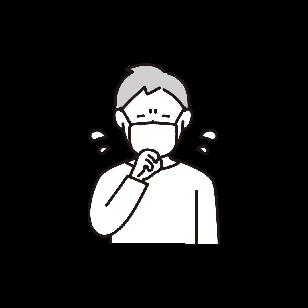 咳をする男性の単色イラスト