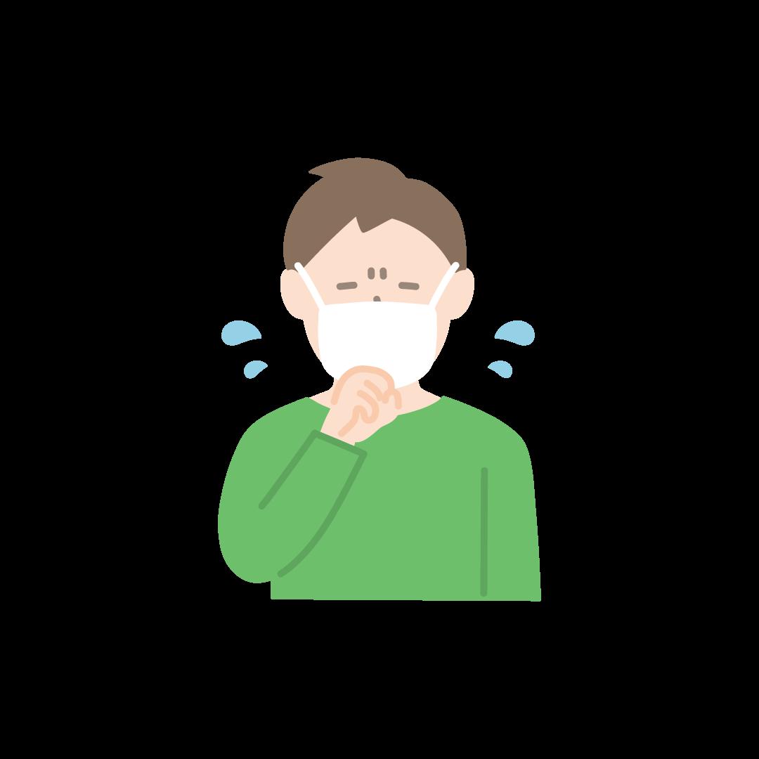 咳をする男性の塗りイラスト