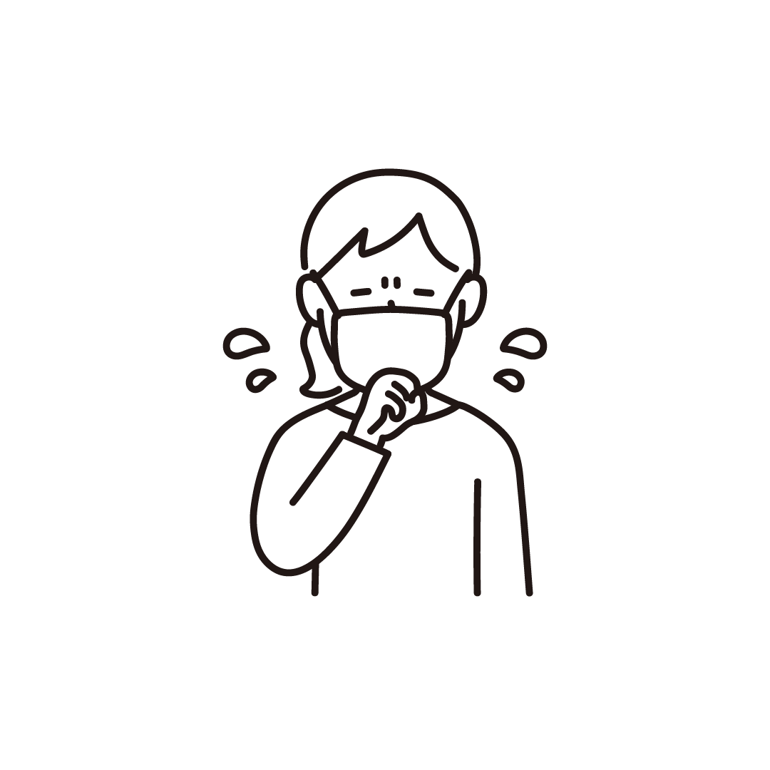 咳をする女性の線画イラスト