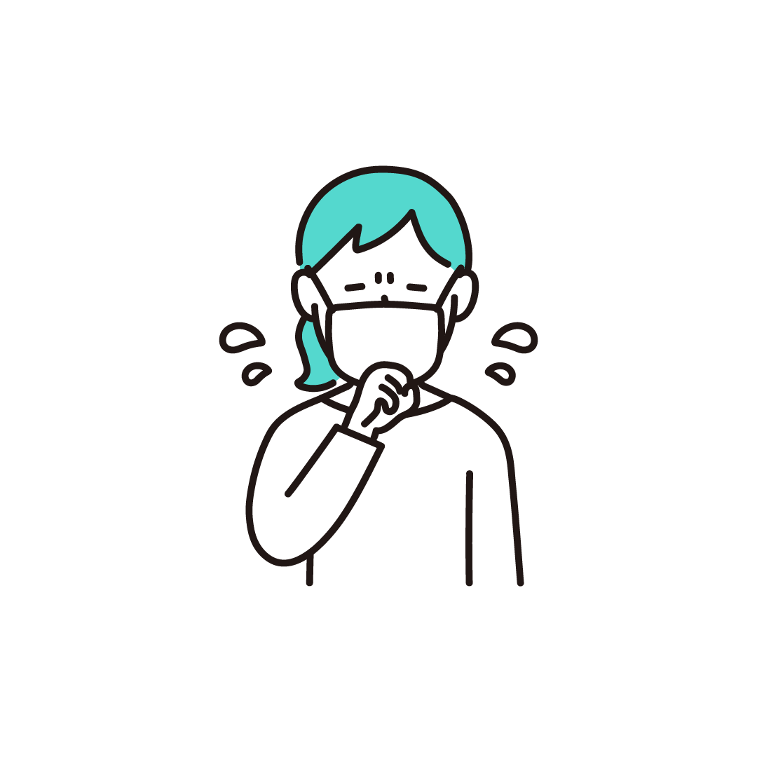 咳をする女性の単色イラスト