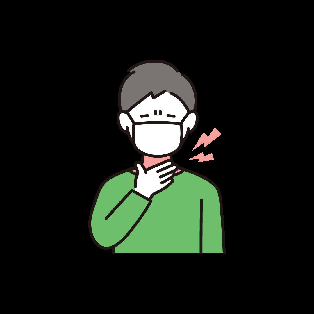 喉が痛い男性のイラスト