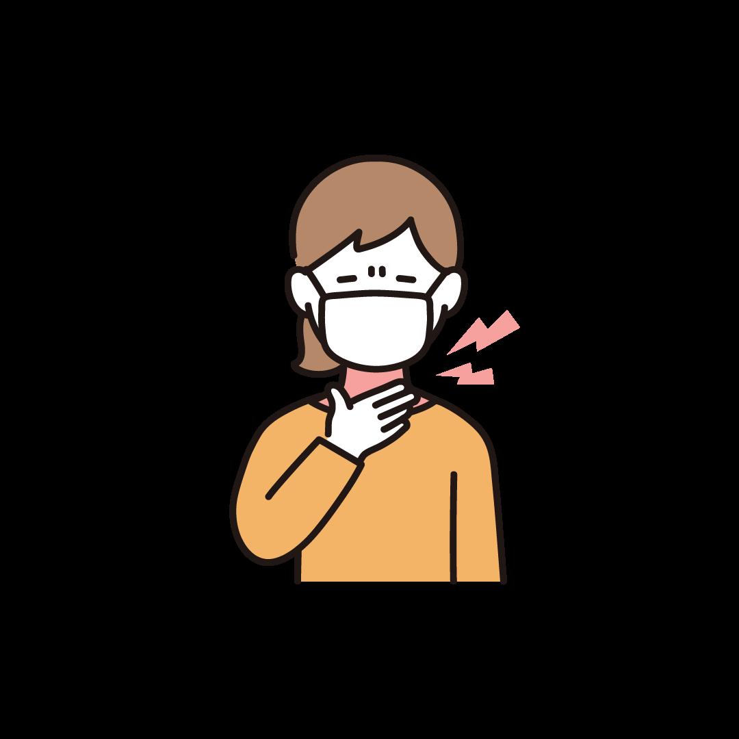 喉が痛い女性のイラスト