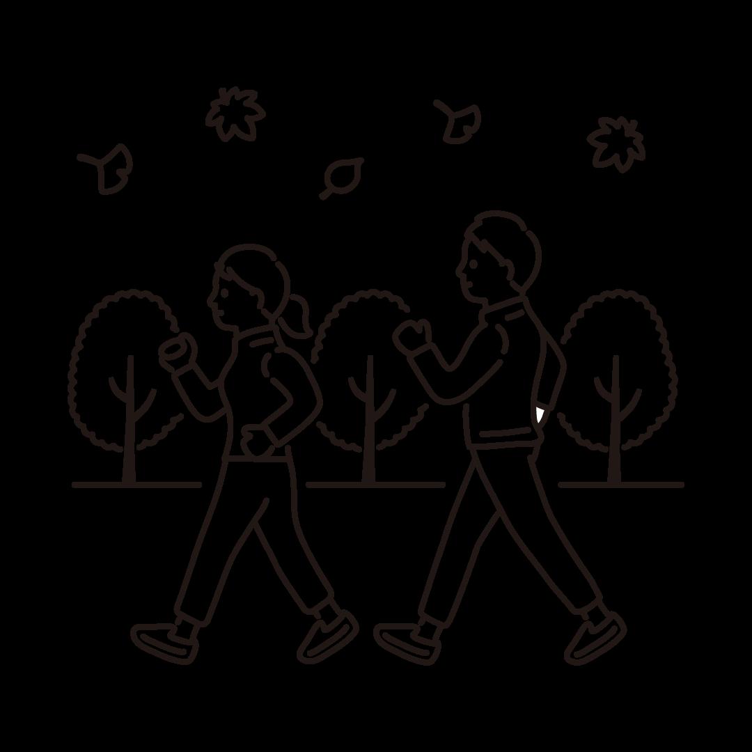 運動の秋の線画イラスト