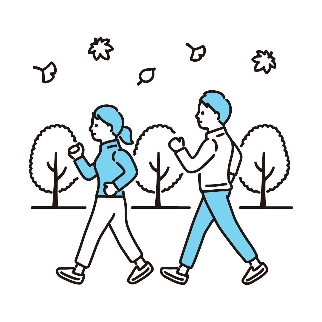 運動の秋(スポーツの秋)の単色イラスト