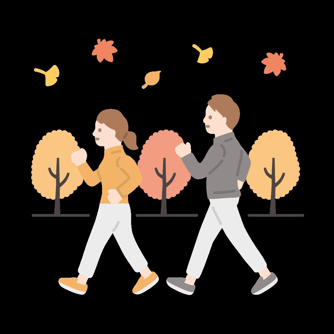 運動の秋の塗りイラスト
