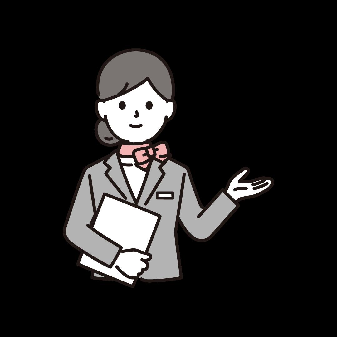 案内するウェディングプランナー(女性)のイラスト