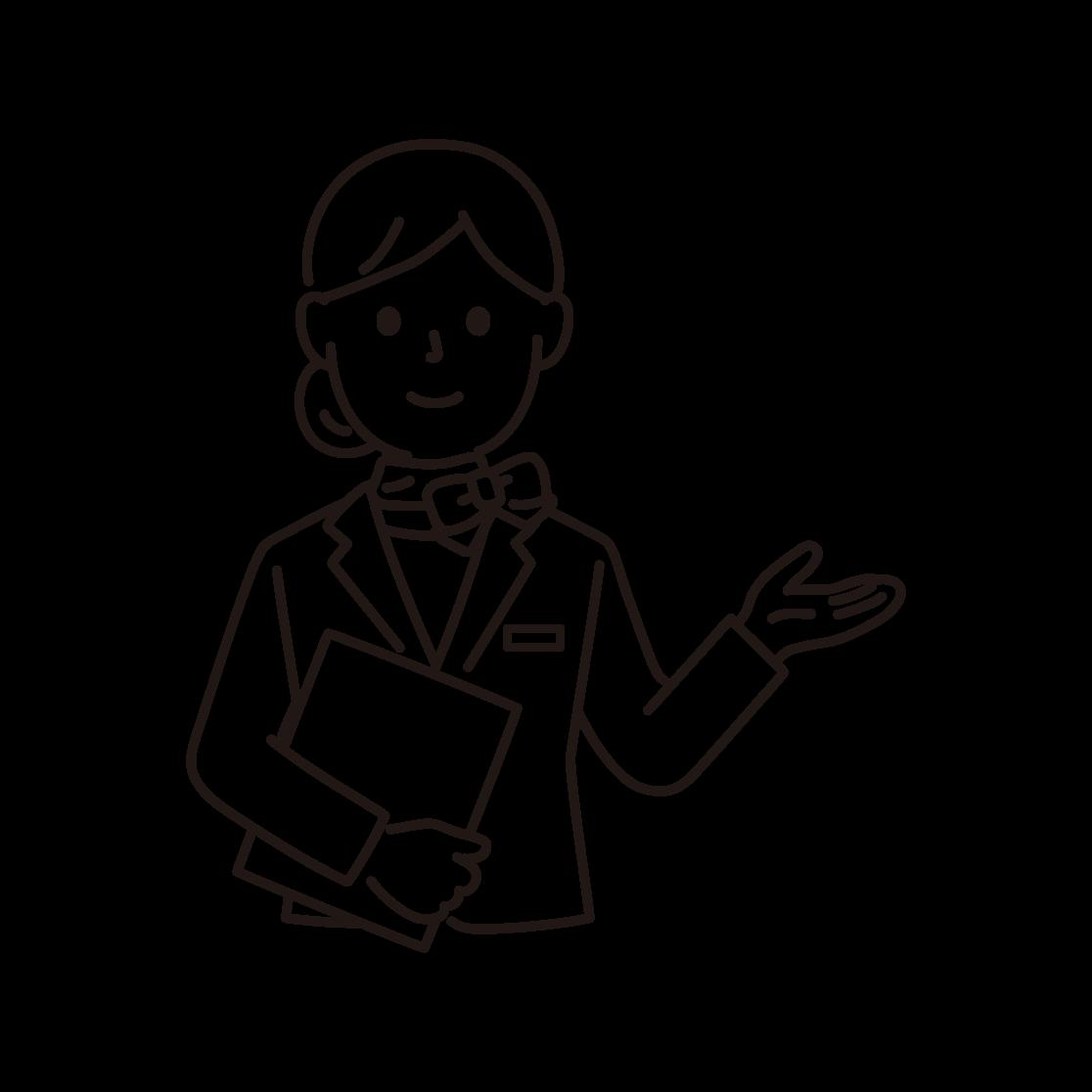 ウェディングプランナー(女性)の線画イラスト