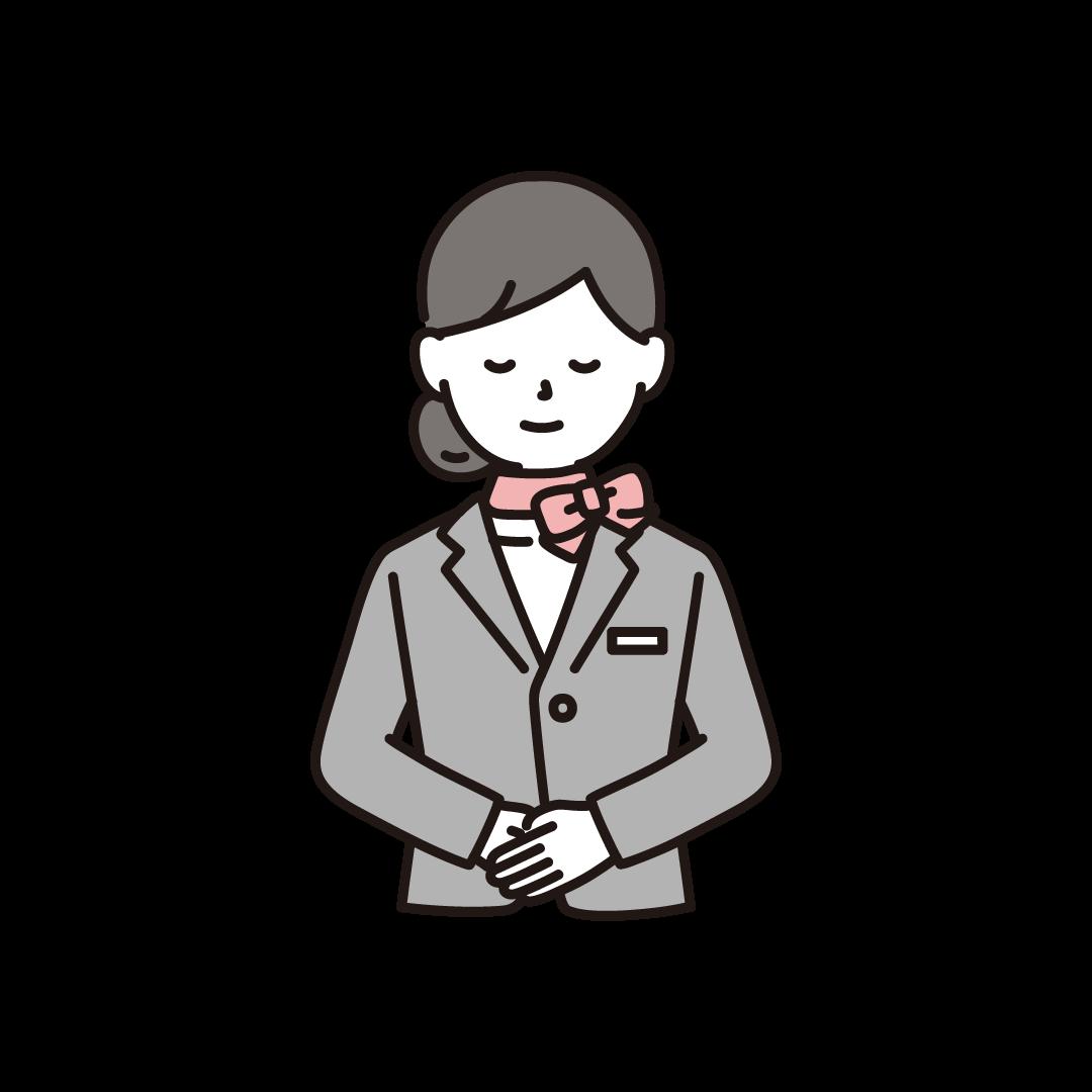 お辞儀をするウェディングプランナー(女性)のイラスト