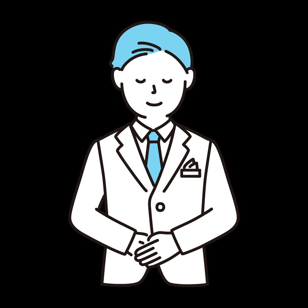 ウェディングプランナー(男性)のイラスト(ブルー)