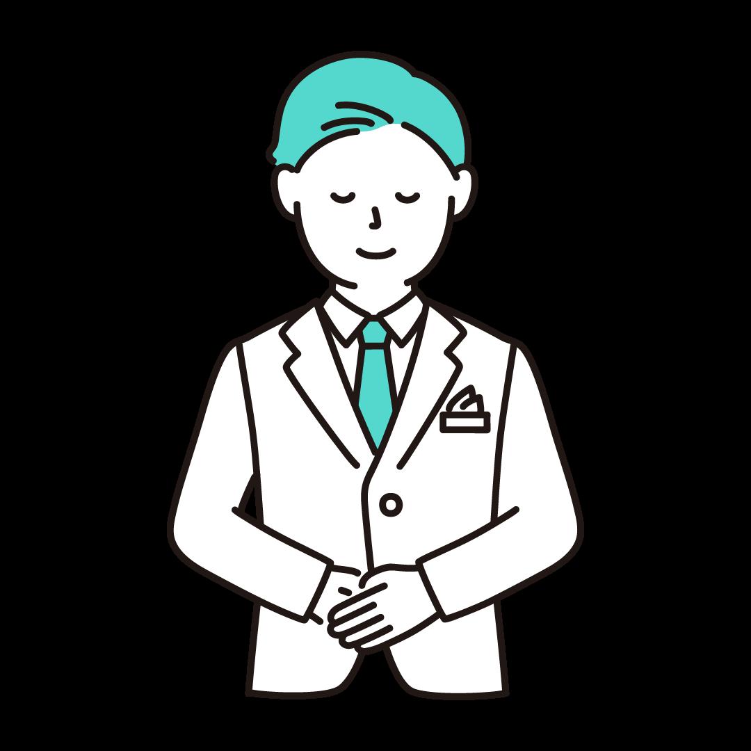 ウェディングプランナー(男性)のイラスト(エメラルドグリーン)