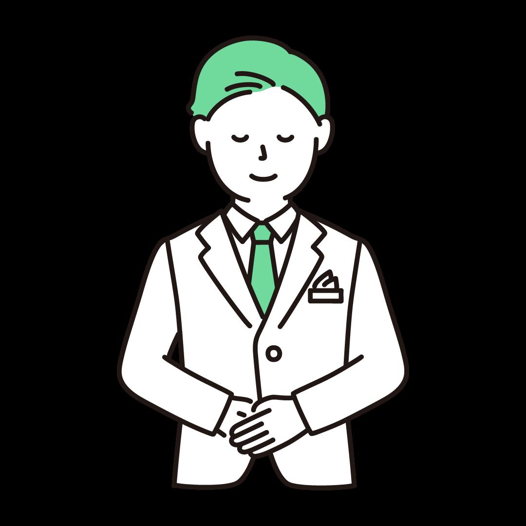 ウェディングプランナー(男性)のイラスト(グリーン)