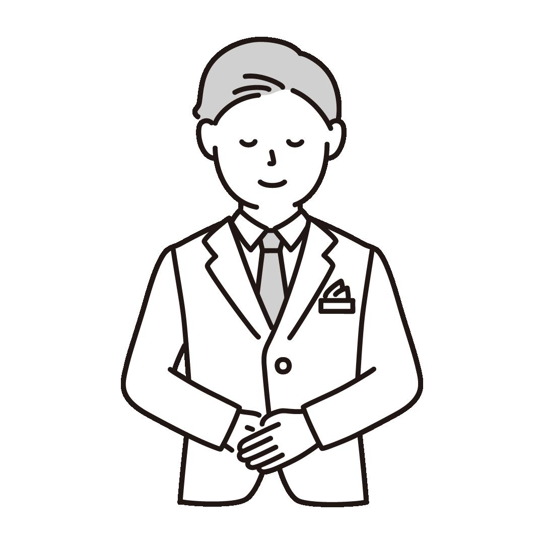 ウェディングプランナー(男性)のイラスト(グレー)