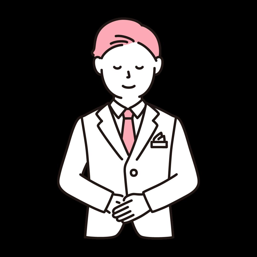 ウェディングプランナー(男性)のイラスト(ピンク)