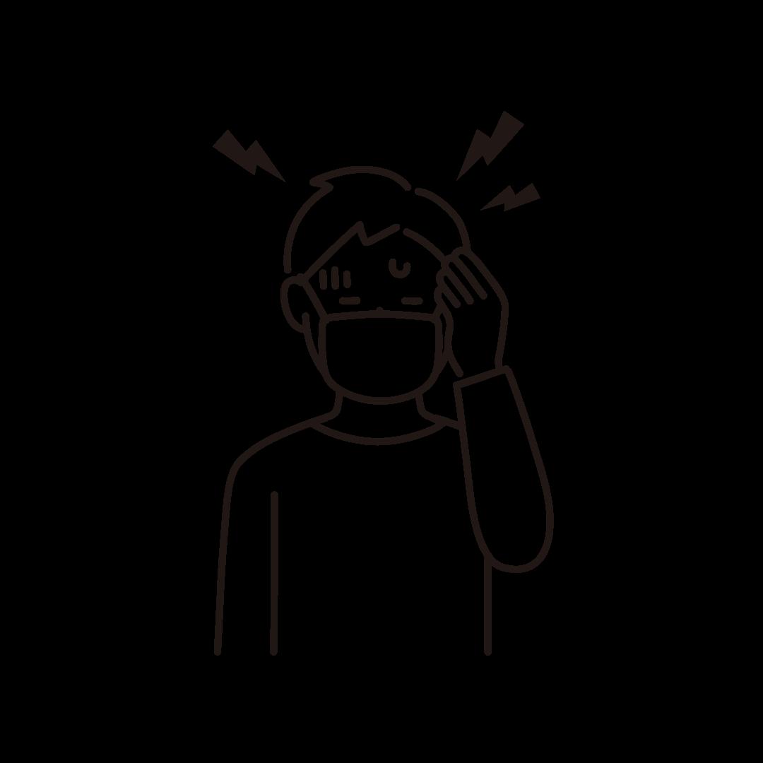 頭痛の線画イラスト(男性)