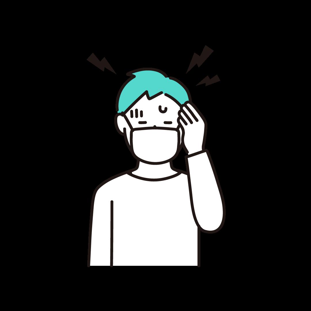 頭痛(男性)の単色イラスト