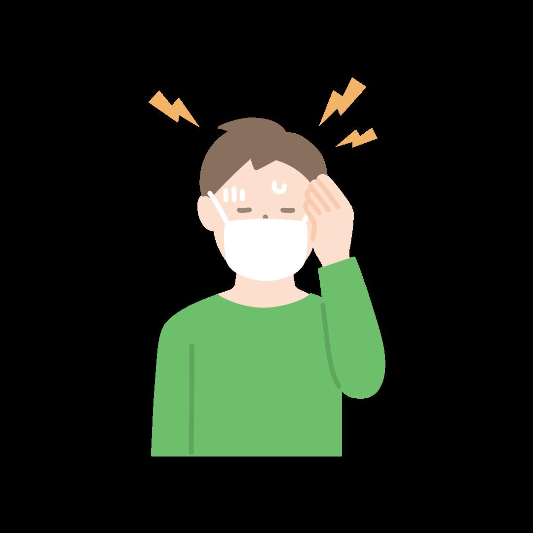 頭痛の塗りイラスト(男性)