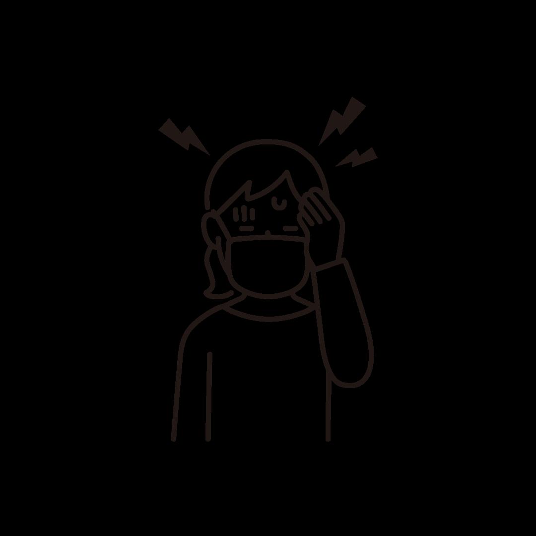 頭痛(女性)の線画イラスト