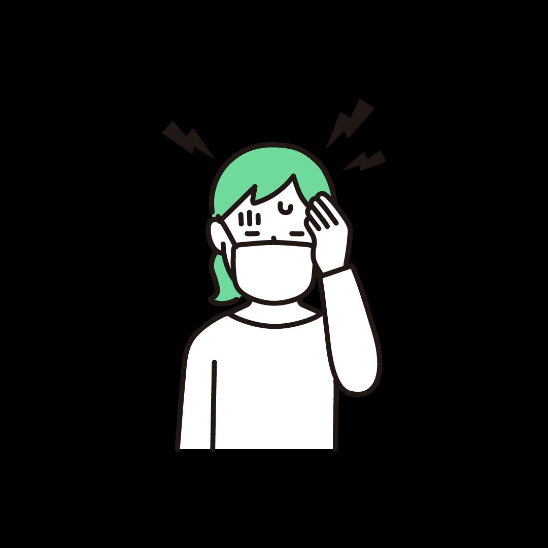 頭痛(女性)の単色イラスト