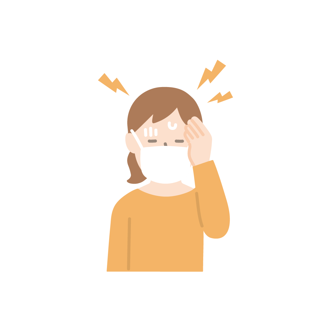 頭痛(女性)の塗りイラスト