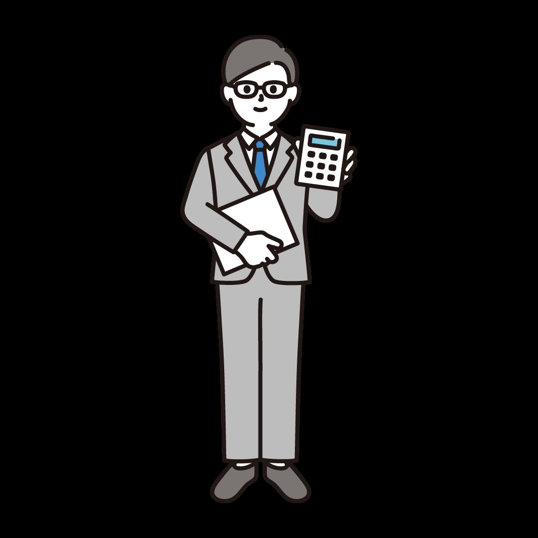 経理の男性のイラスト