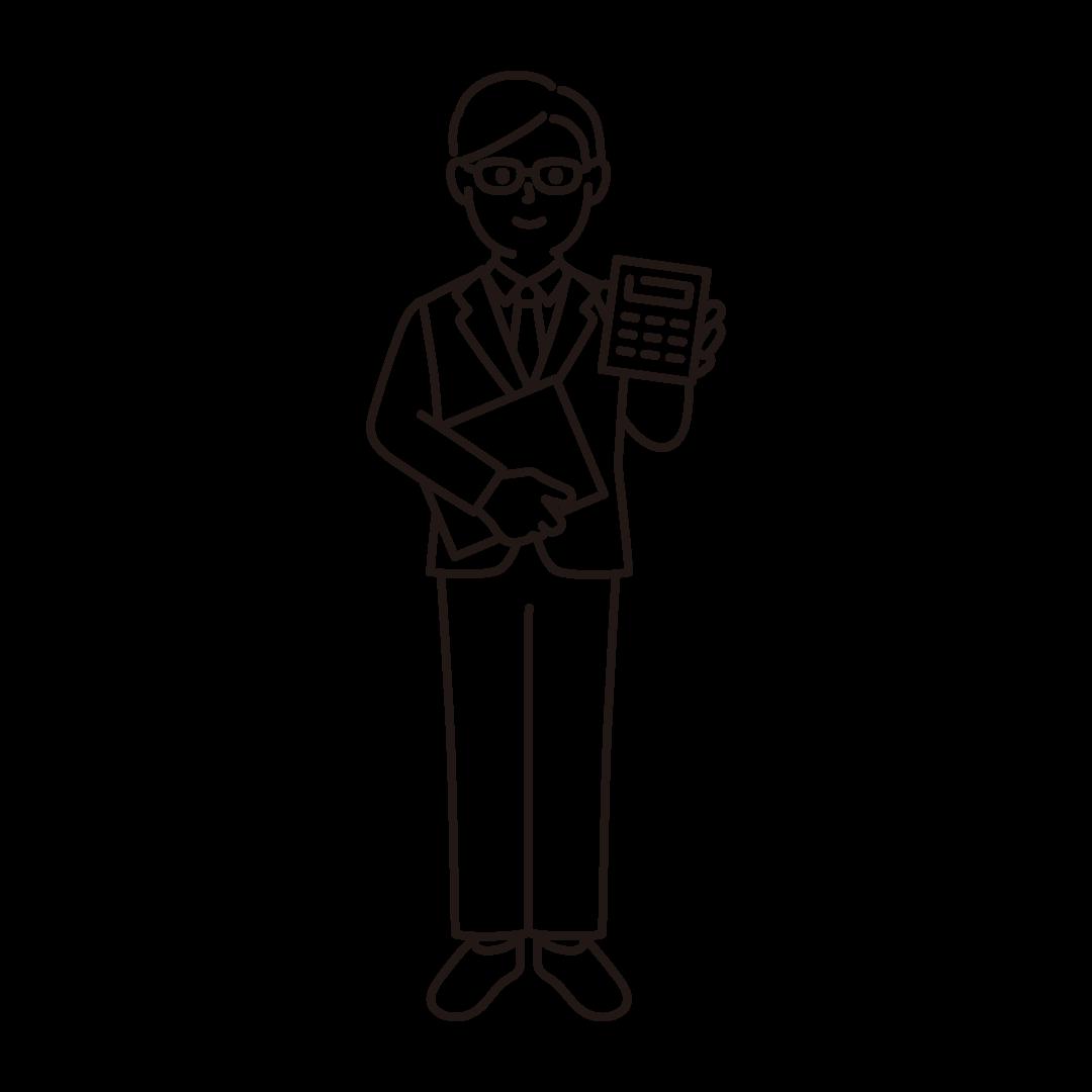 経理(男性)の線画イラスト