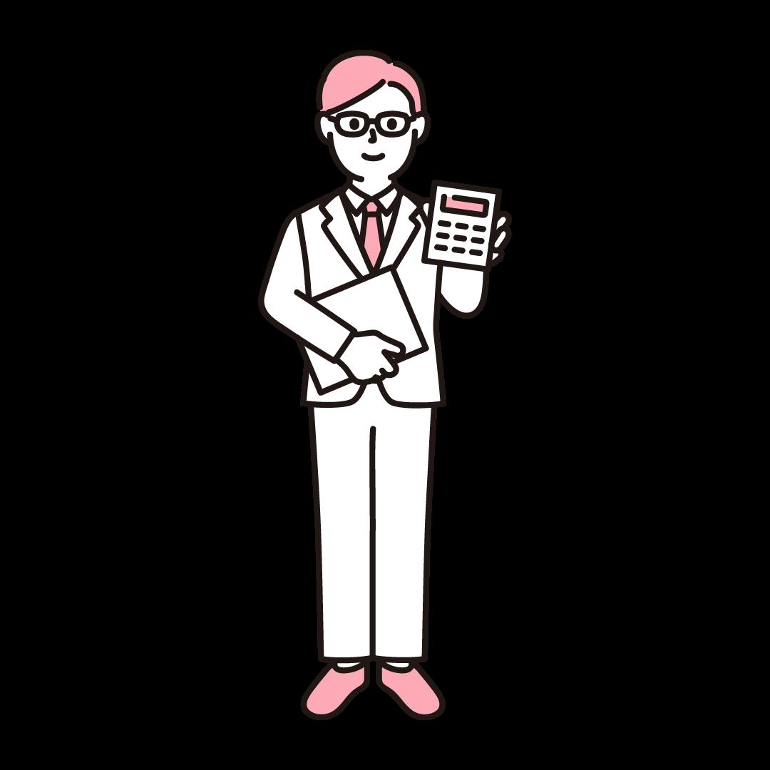 経理(男性)のイラスト(ピンク)