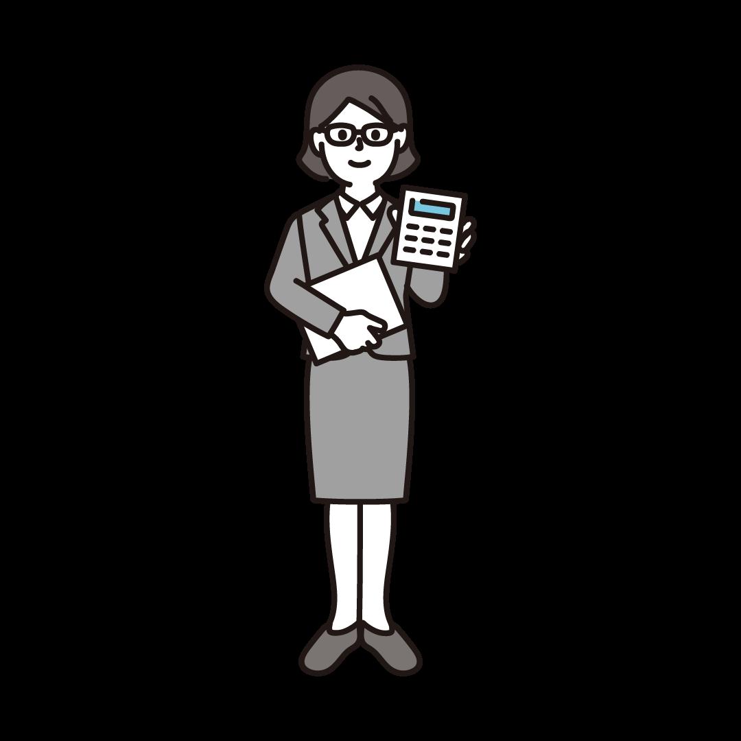 経理(女性)のイラスト