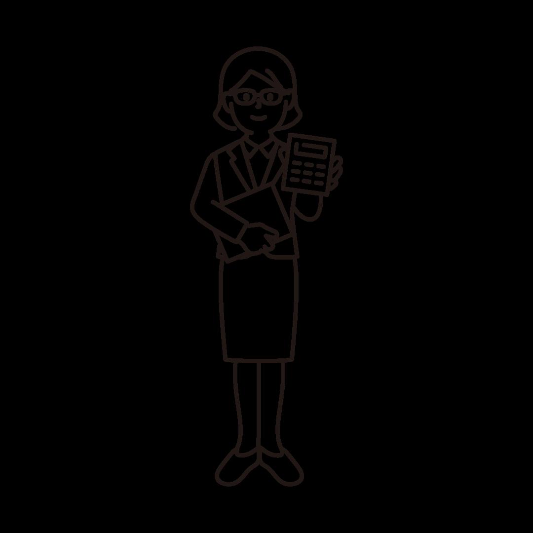 経理(女性)の線画イラスト