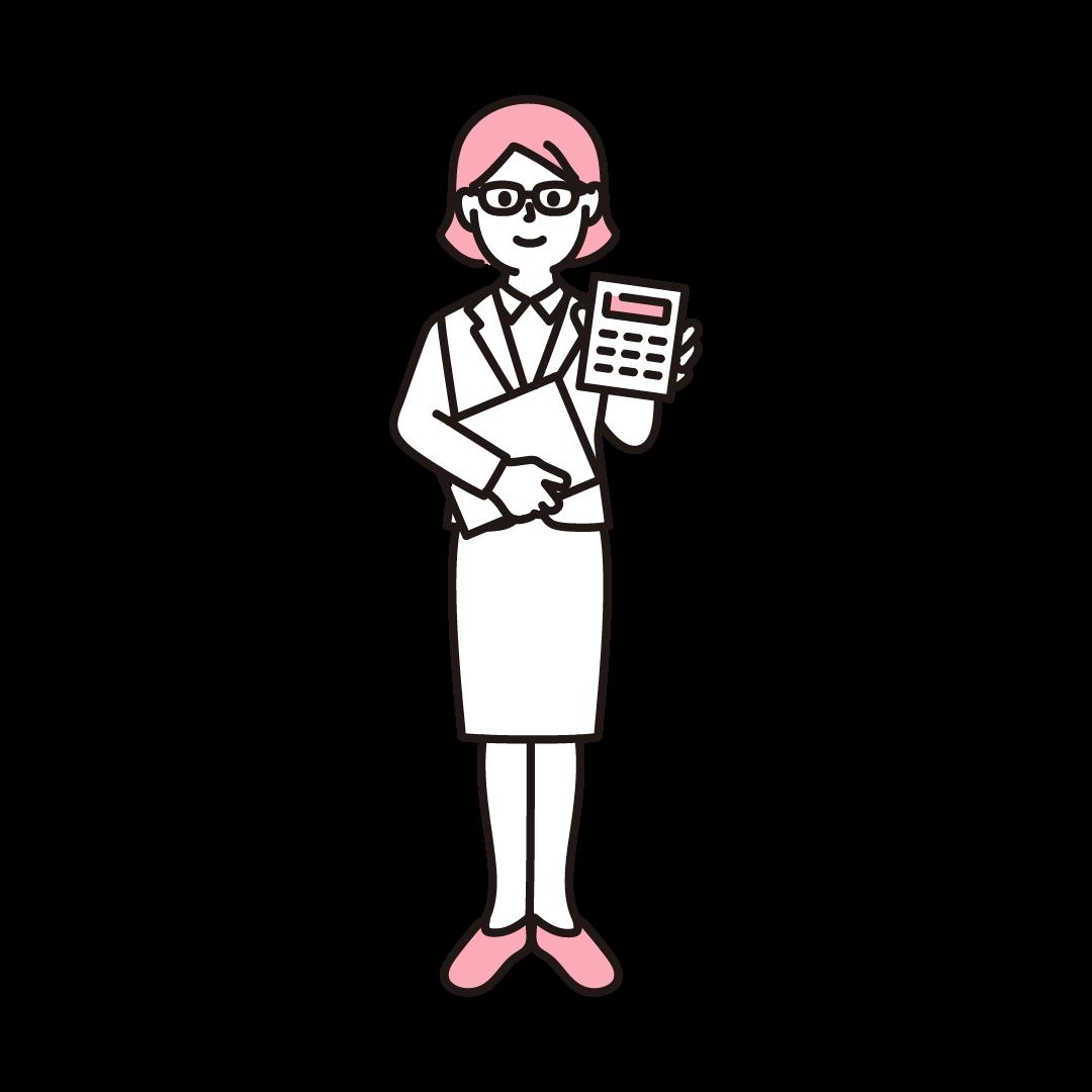 経理(女性)のイラスト(ピンク)