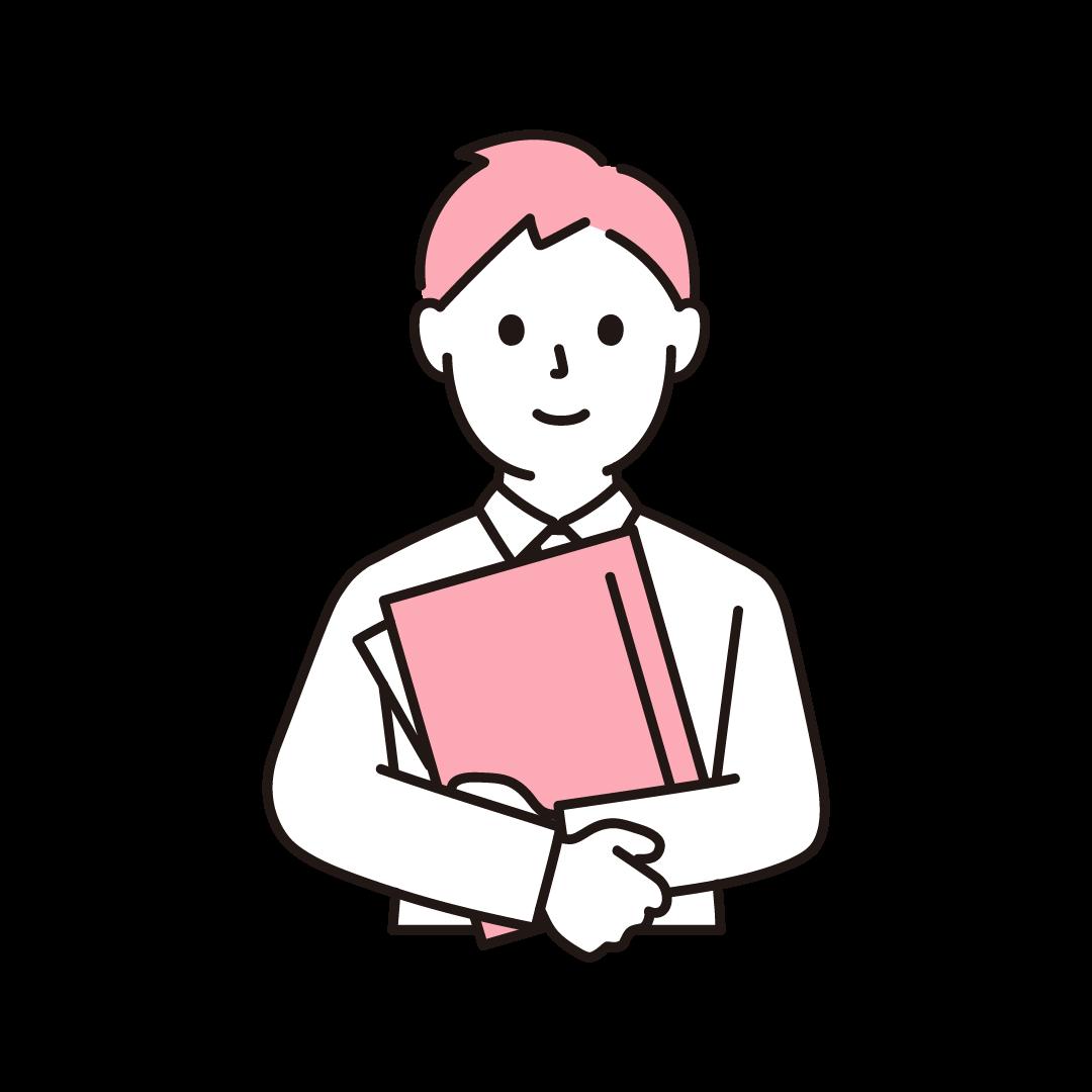 男性事務員(上半身)のイラスト(ピンク)