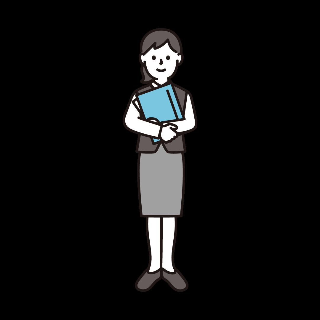 事務職員(女性)のイラスト