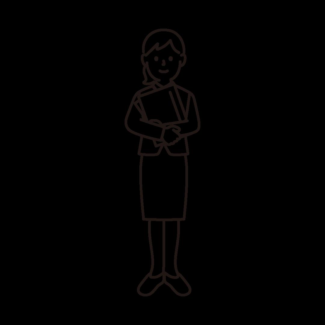 事務職員(女性)の線画イラスト
