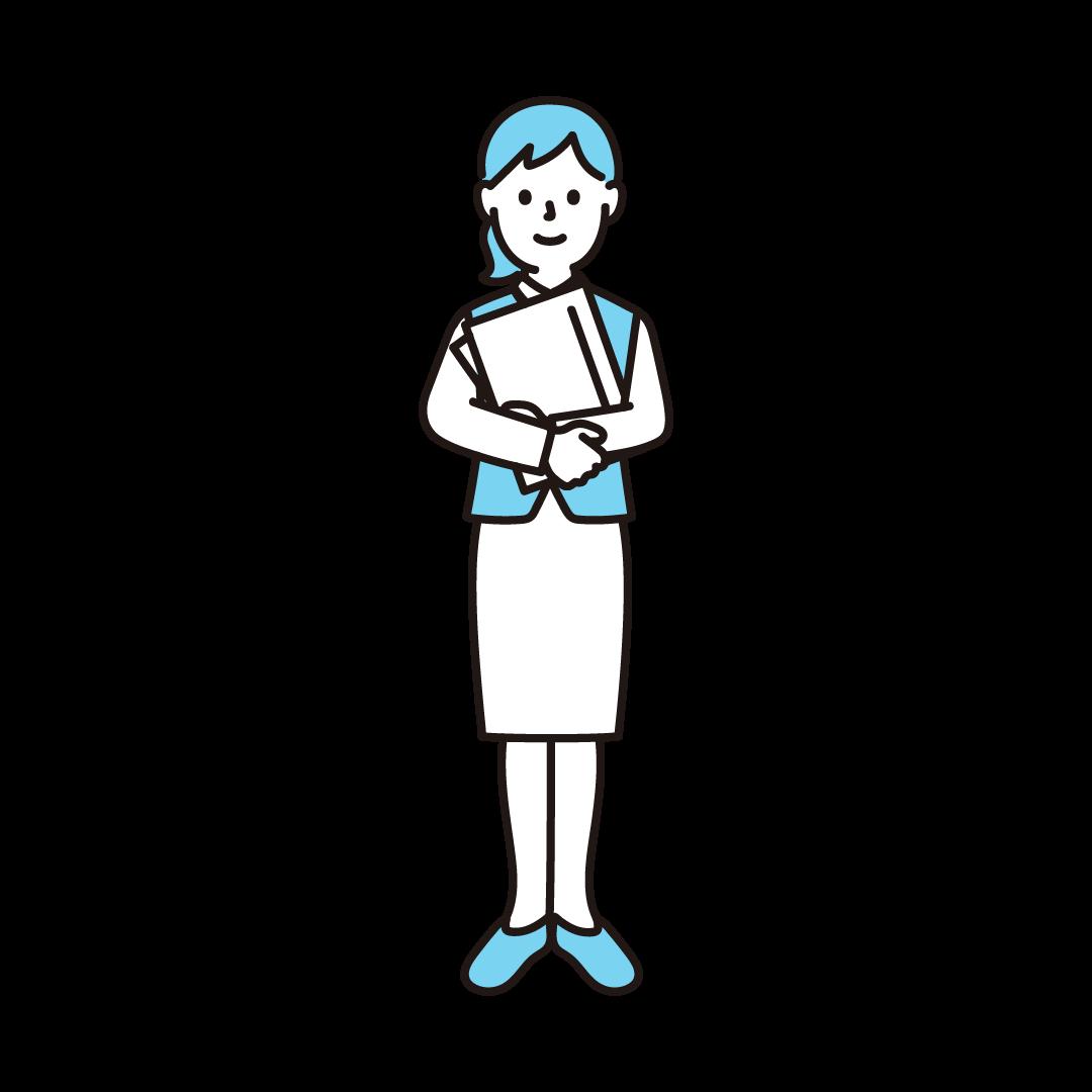 女性事務員のイラスト(ブルー)