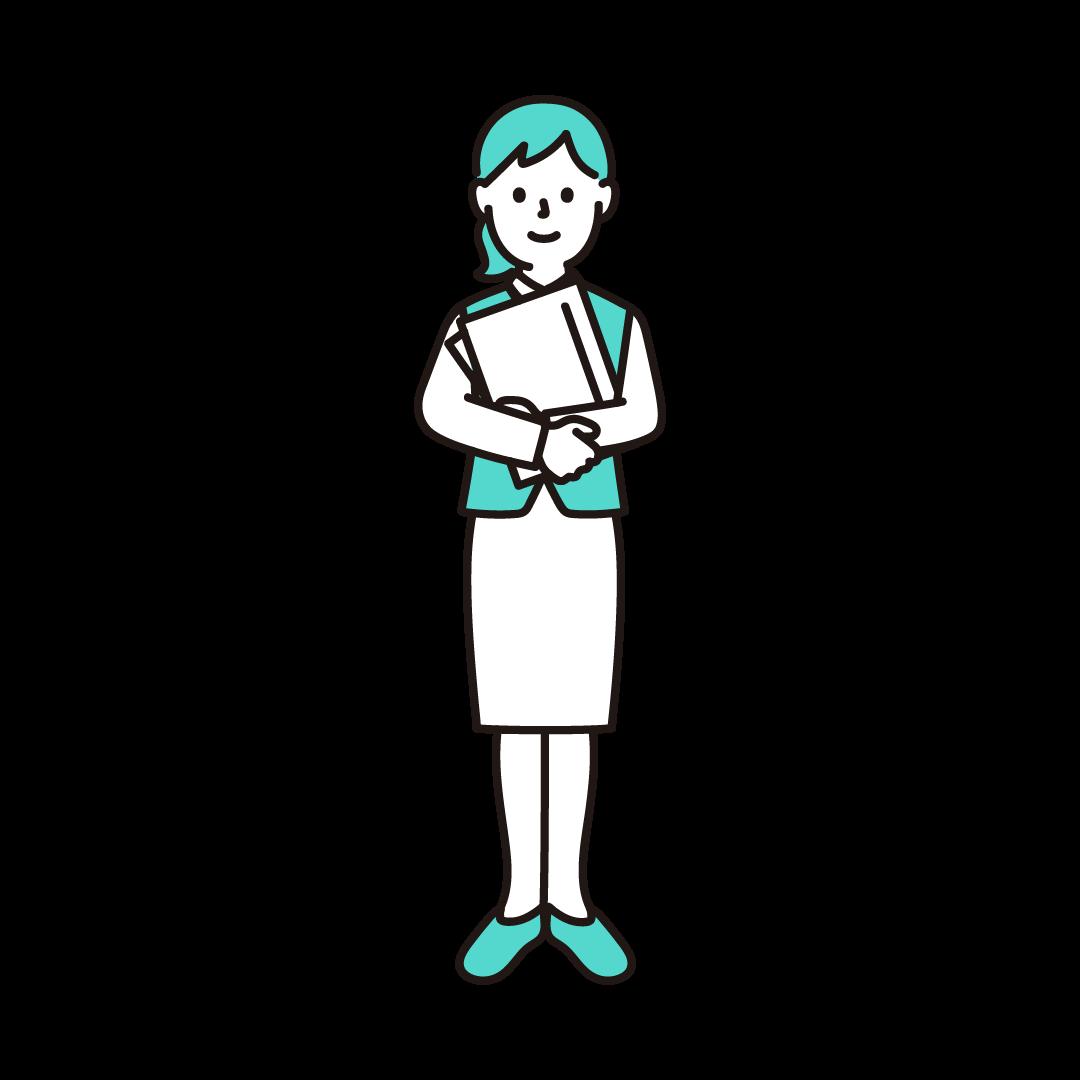女性事務員のイラスト(エメラルド)
