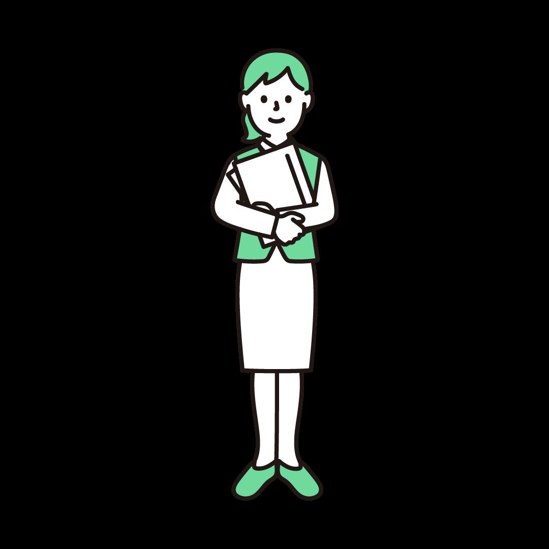 女性事務員のイラスト(グリーン)