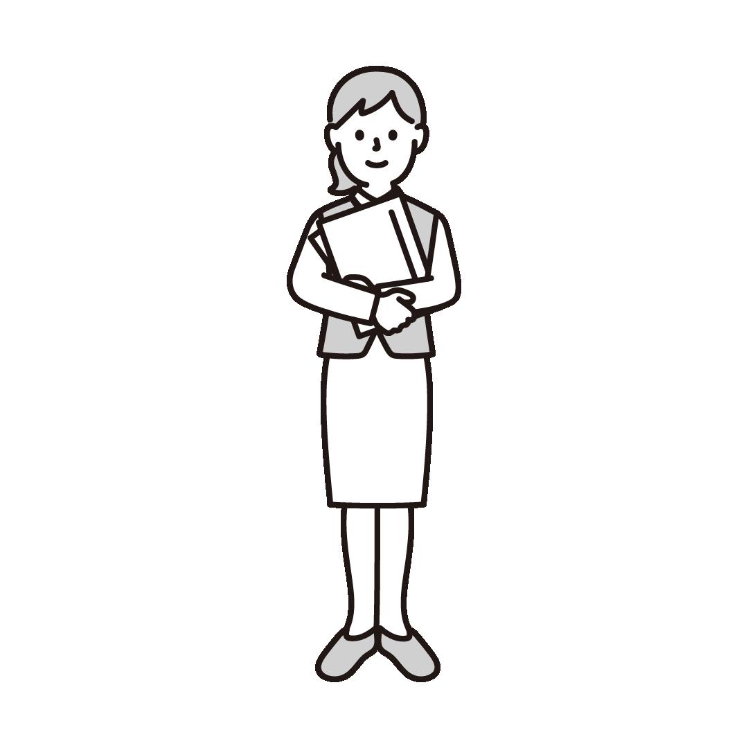 女性事務員のイラスト(グレー)