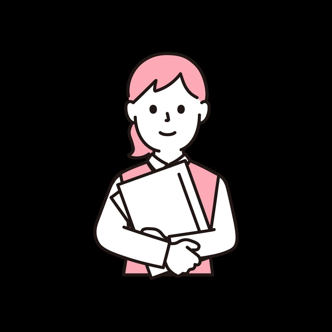 女性事務員(上半身)のイラスト(ピンク)
