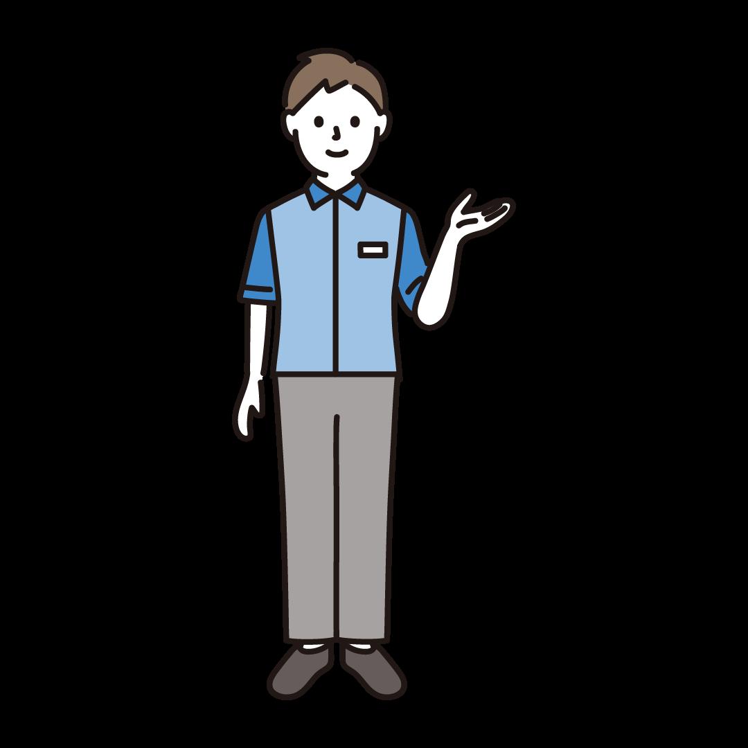 コンビニ店員(男性)のイラスト